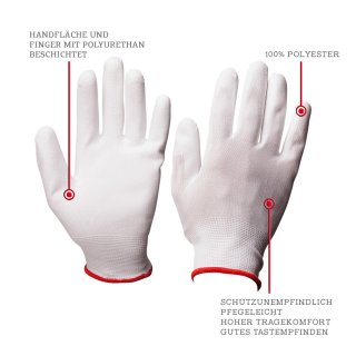 Polyurethane Assembly Glove in white- the light solution for your assembly