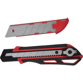 Viwanda ViCut Heavy Duty 25mm duo-lock red retractable knife with extra thick stainless steel blade and spare blade holder