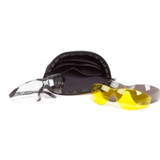 Protective Spectacles with Exchangable Transparent, Grey and Yellow lenses and Spectacle Pouch