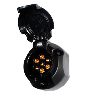 FEP 7-pin 12V Trailer Socket, Flat Version, Plastic Housing, including Cap and Cut-off Contact for Rear Fog Light