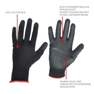 Polyurethane Assembly Glove in black- the light solution for your assembly