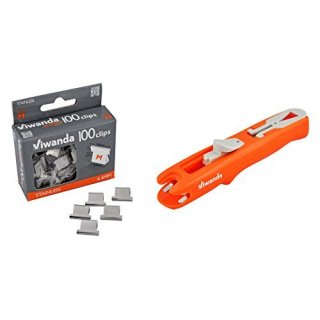 Klammerloser Hefter & Tacker - Papier Clipper Eric Orange + 100 Clips